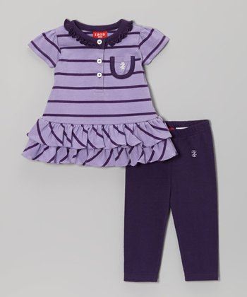 Purple Stripe Ruffle Tunic and Leggings - Toddler