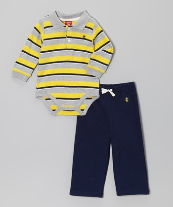 Yellow & Gray Stripe Bodysuit & Blue Pants - Infant