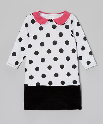 Black & White Polka Dot Shift Dress - Toddler & Girls