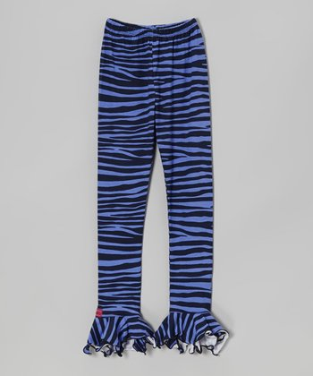 Blue Zebra Ruffle Leggings - Girls