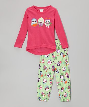 Pink & Green Owls Pajama Set - Girls