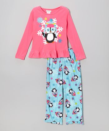 Pink & Blue Penguin Pajama Set - Girls