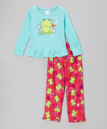 Blue Frog & Stars Pajama Set - Girls
