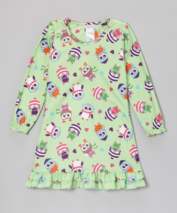 Green Winter Owls Nightgown - Girls