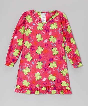 Pink Frog & Stars Nightgown - Girls