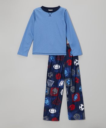 Blue Sports Pajama Set - Boys