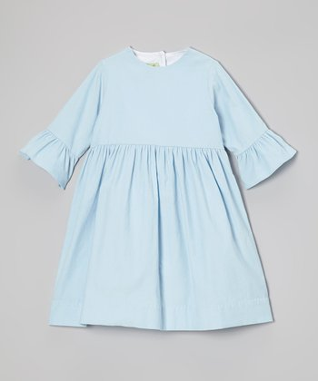 Light Blue Corduroy Bell-Sleeve Dress - Infant, Toddler & Girls