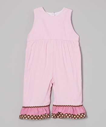 Pink Polka Dot Ruffle Corduroy Jumpsuit - Infant