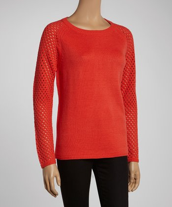 Coral Red Open-Knit Sleeve Sweater
