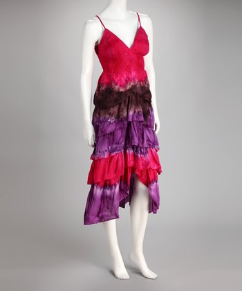 Fuchsia Ruffle Hi-Low Dress