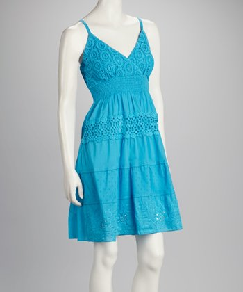 Turquoise Crocheted Shirred Dress