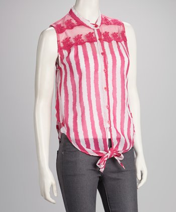 Pink Sheer Stripe Front-Tie Top