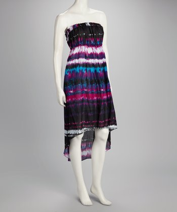 Purple Tie-Dye Hi-Low Strapless Dress