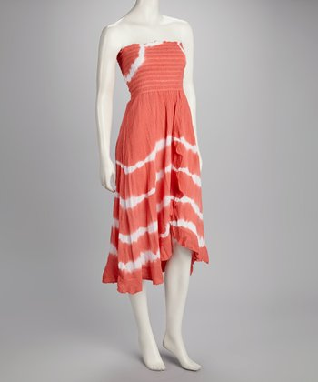 Orange Tie-Dye Hi-Low Strapless Dress
