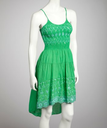 Kelly Green Smocked Hi-Low Dress