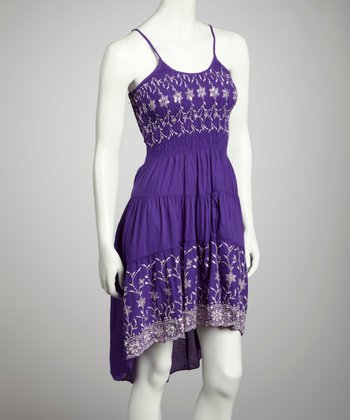 Purple Smocked Hi-Low Dress