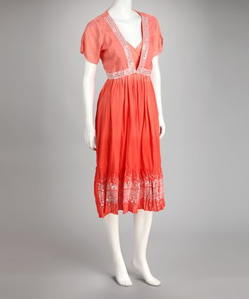 Coral Embellished Surplice Dress & Bolero