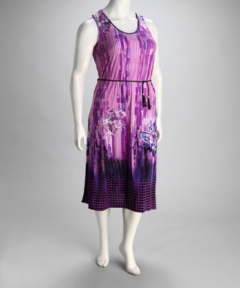 Purple Geometric Belted Plus-Size Sleeveless Dress