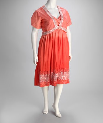 Coral Sequin Plus-Size Surplice Dress & Jacket