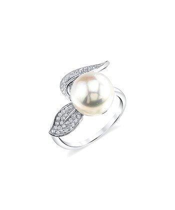 Pearl & Silver Crystal Leaf Ring Made With SWAROVSKI ELEMENTS