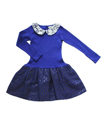 Royal Blue & Gold Petra Dress - Toddler & Girls