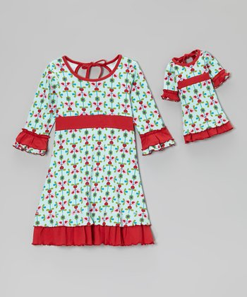 Blue & Red Trim Love Ruffle Dress & Doll Outfit - Girls