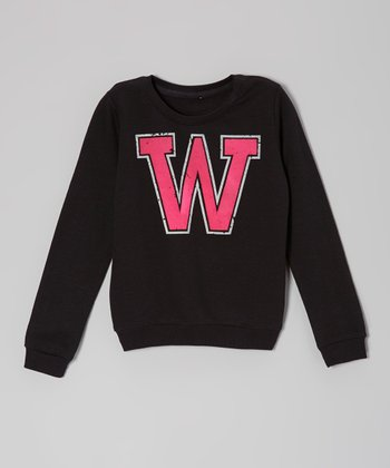 Black & Pink 'W' French Terry Sweatshirt