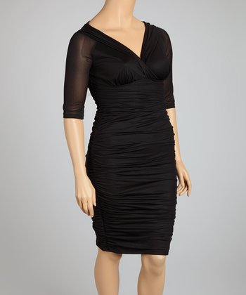 Black Ruched Betsey Dress - Plus