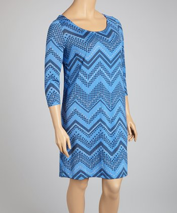 Blue Zigzag Scoop Neck Dress - Plus