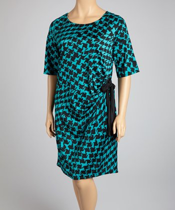 Turqoise & Black Houndstooth Dress - Plus