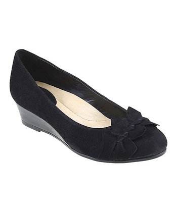 Black Teaberry Suede Wedge