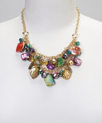 Green & Purple Shell Bead Necklace