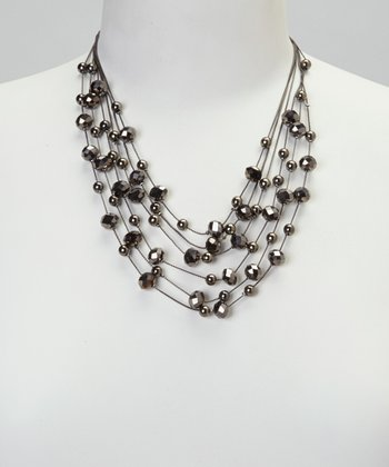 Black Diamond Illusion Necklace & Drop Earrings