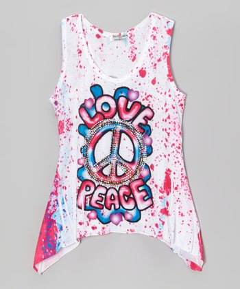 Pink 'Love Peace' Rhinestone Sublimation Sidetail Tank - Girls