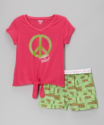 Pink & Green Peace Pajama Set - Girls