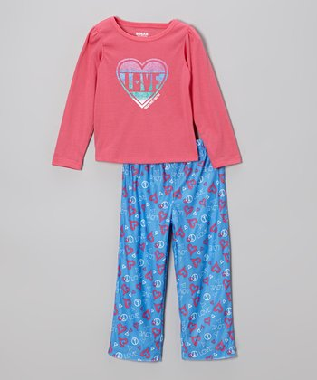 Pink & Blue 'Love' Pajama Set - Toddler