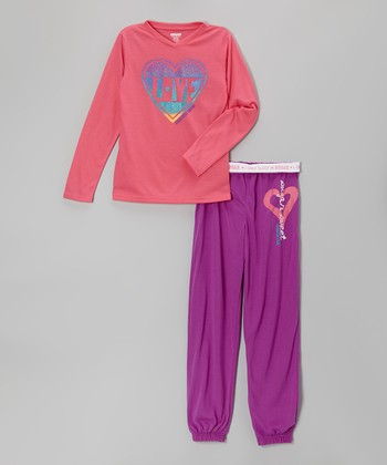 Pink & Purple 'Love' Pajama Set - Girls