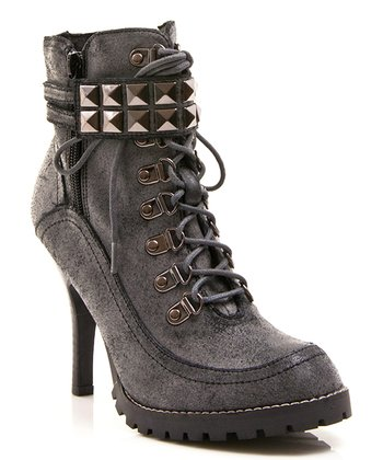 Black Leather Big Time Ankle Boot