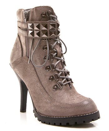 Gray Leather Big Time Ankle Boot