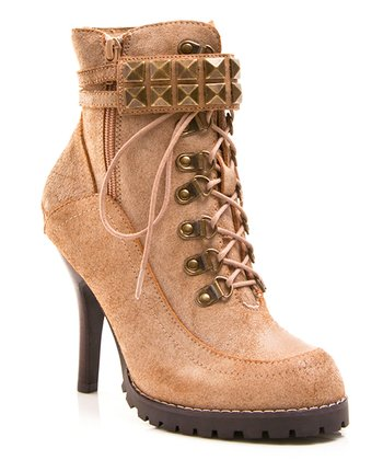 Natural Leather Big Time Ankle Boot