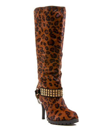 Brown Leopard Pony Hair Crackalackin Boot