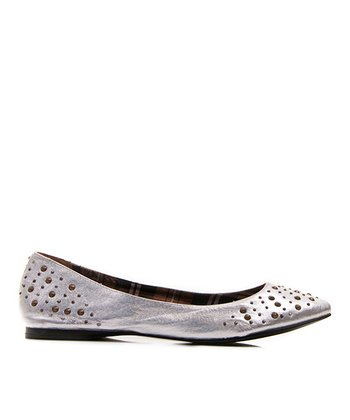 Silver Leather Hot Dog Ballet Flat