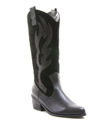 Black Leather Howdy Boot