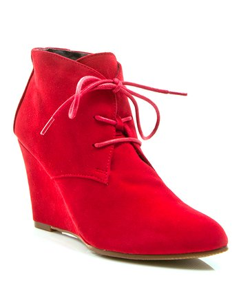 Red Suede Lola Ankle Wedge Boot