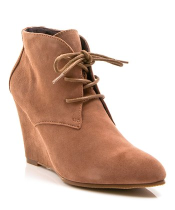 Tan Suede Lola Ankle Wedge Boot