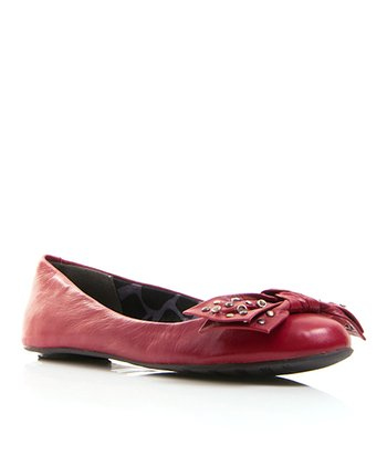 Dark Leather Red Play Ballet Flat