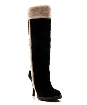 Black Faux Fur Swiss Vanilla Boot