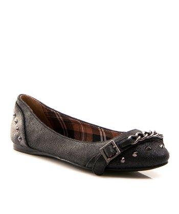 Black Taco Leather Ballet Flat
