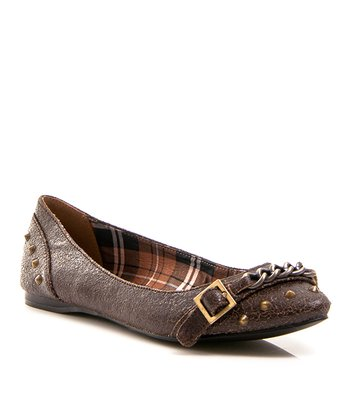 Dark Brown Taco Leather Ballet Flat