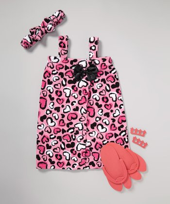 Pink Cheetah Heart Spa Set - Girls